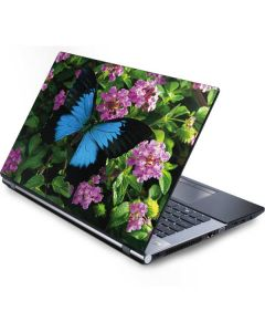 Ulysses Butterfly Lands On Pink Flowers Generic Laptop Skin