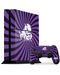 TCU Horned Frogs Mascot Swirl PS4 Console and Controller Bundle Skin