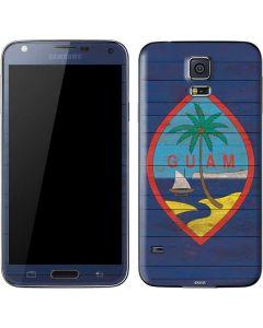 Guam Flag Dark Wood Galaxy S5 Skin