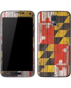 Maryland Flag Dark Wood Galaxy S5 Skin