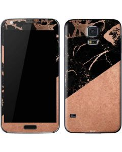 Black and Rose Gold Marble Split Galaxy S5 Skin