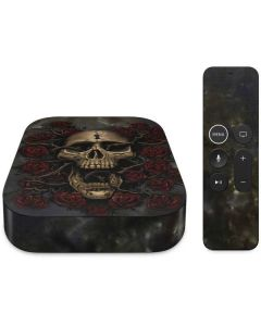 Skull Entwined with Roses Apple TV Skin