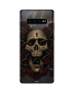 Skull Entwined with Roses Galaxy S10 Plus Skin