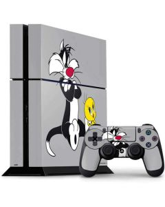 Sylvester Tweety Bird Crossed Arms PS4 Console and Controller Bundle Skin