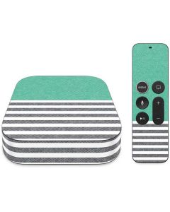 Teal and Grey Stripes Apple TV Skin