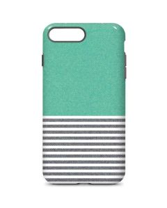 Teal and Grey Stripes iPhone 8 Plus Pro Case
