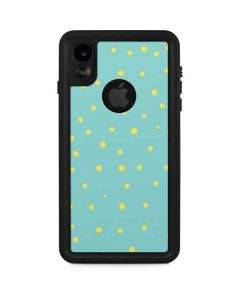 Teal and Yellow Polka Dots iPhone XR Waterproof Case