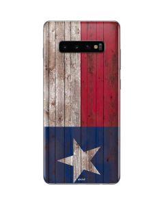 Texas Flag Dark Wood Galaxy S10 Plus Skin