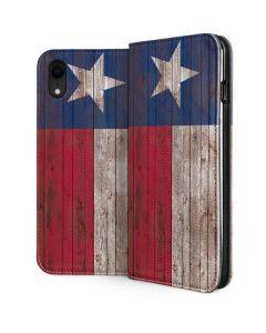 Texas Flag Dark Wood iPhone XR Folio Case