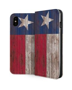 Texas Flag Dark Wood iPhone XS Max Folio Case