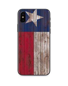 Texas Flag Dark Wood iPhone XS Skin
