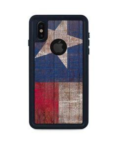 Texas Flag Dark Wood iPhone XS Waterproof Case