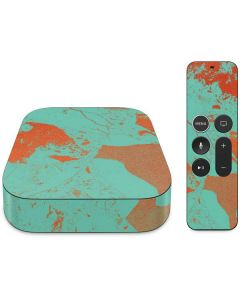 Turquoise and Orange Marble Apple TV Skin
