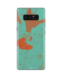 Turquoise and Orange Marble Galaxy Note 8 Skin