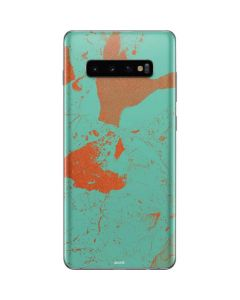 Turquoise and Orange Marble Galaxy S10 Plus Skin