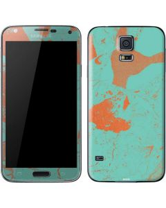 Turquoise and Orange Marble Galaxy S5 Skin