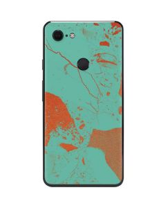 Turquoise and Orange Marble Google Pixel 3 XL Skin