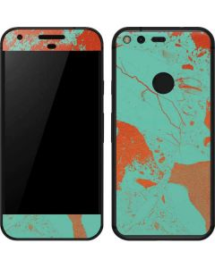 Turquoise and Orange Marble Google Pixel Skin