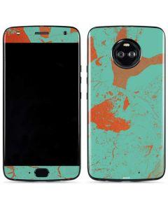 Turquoise and Orange Marble Moto X4 Skin