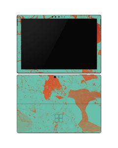 Turquoise and Orange Marble Surface Pro 6 Skin