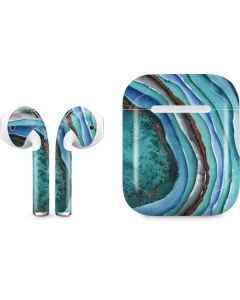 Turquoise Watercolor Geode Apple AirPods Skin