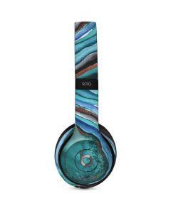 Turquoise Watercolor Geode Beats Solo 2 Wired Skin