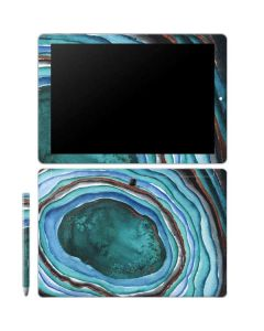 Turquoise Watercolor Geode Galaxy Book 10.6in Skin