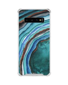 Turquoise Watercolor Geode Galaxy S10 Clear Case