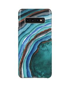 Turquoise Watercolor Geode Galaxy S10 Plus Lite Case