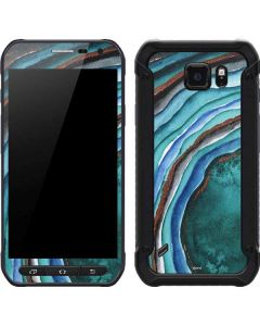 Turquoise Watercolor Geode Galaxy S6 Active Skin