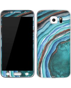 Turquoise Watercolor Geode Galaxy S6 Skin