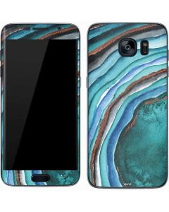 Turquoise Watercolor Geode Galaxy S7 Skin