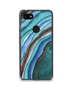 Turquoise Watercolor Geode Google Pixel 3a Clear Case