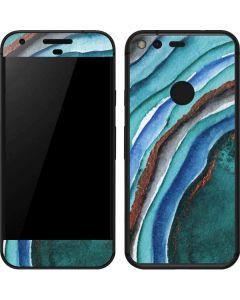 Turquoise Watercolor Geode Google Pixel Skin