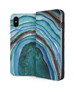Turquoise Watercolor Geode iPhone XS Folio Case