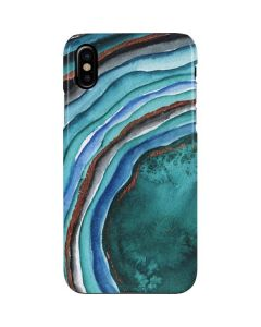 Turquoise Watercolor Geode iPhone XS Lite Case