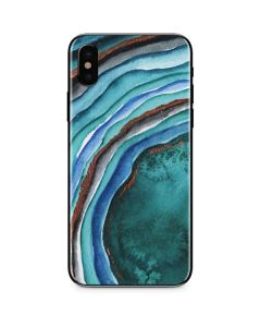 Turquoise Watercolor Geode iPhone XS Max Skin
