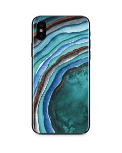 Turquoise Watercolor Geode iPhone XS Skin