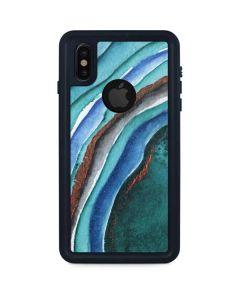 Turquoise Watercolor Geode iPhone XS Waterproof Case