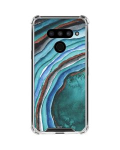 Turquoise Watercolor Geode LG V50 ThinQ Clear Case