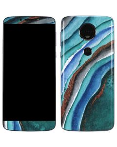 Turquoise Watercolor Geode Moto E5 Plus Skin