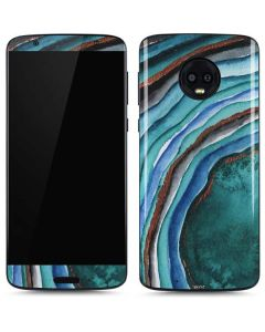 Turquoise Watercolor Geode Moto G6 Skin