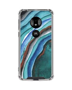 Turquoise Watercolor Geode Moto G7 Play Clear Case