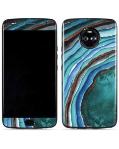 Turquoise Watercolor Geode Moto X4 Skin