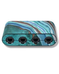 Turquoise Watercolor Geode Nintendo GameCube Controller Adapter Skin