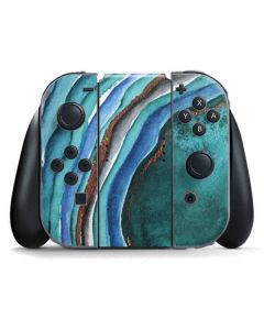 Turquoise Watercolor Geode Nintendo Switch Joy Con Controller Skin