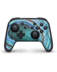 Turquoise Watercolor Geode Nintendo Switch Pro Controller Skin