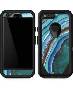 Turquoise Watercolor Geode Otterbox Defender Pixel Skin