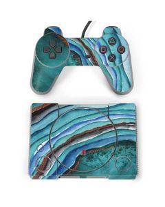 Turquoise Watercolor Geode PlayStation Classic Bundle Skin