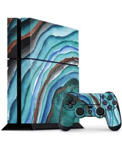 Turquoise Watercolor Geode PS4 Console and Controller Bundle Skin